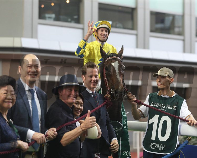 Werther with Hugh Bowman in the saddle claims the Audemars Piguet QEII Cup (Group 1-2000M). April 23, 2016<br /> Masakazu Takahashi Photo