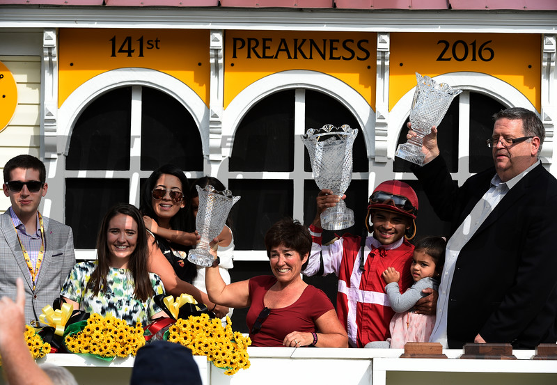 Winner's circle celebration after the 92nd running of The Black Eyed Susan at Pimlico Race Course May 20, 2016.