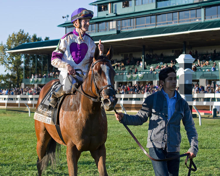 Lightstream with Julien Leparoux with thumbs up after winning the Lexus Raven Run (gr. II) at Keeneland in Lexington, Ky., on Oct. 22, 2016.