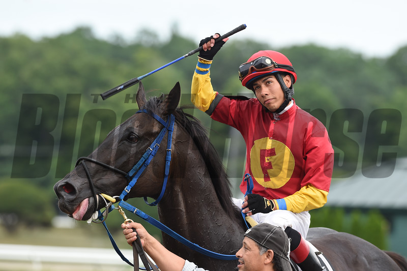 Moonlight Song wins the 2016 John Morrissey Stakes.<br /> Jose Ortiz 1000th win, July 28, 2016.<br /> Coglianese Photos