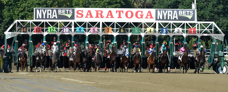 Arrogate from the gate on the way to a track record win in the 147th running of the Travers Stakes at Saratoga Race Course August 27, 2016 in Saratoga Springs, N.Y.  Photo by Skip Dickstein