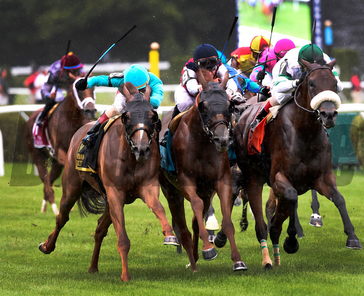 Dacita with jockey Irad Ortiz Jr. in the saddle, left wins in a thrilling finish the 78th running of The Diana Saturday July 23, 2016 at Saratoga Race Course.  Photo by Skip Dickstein