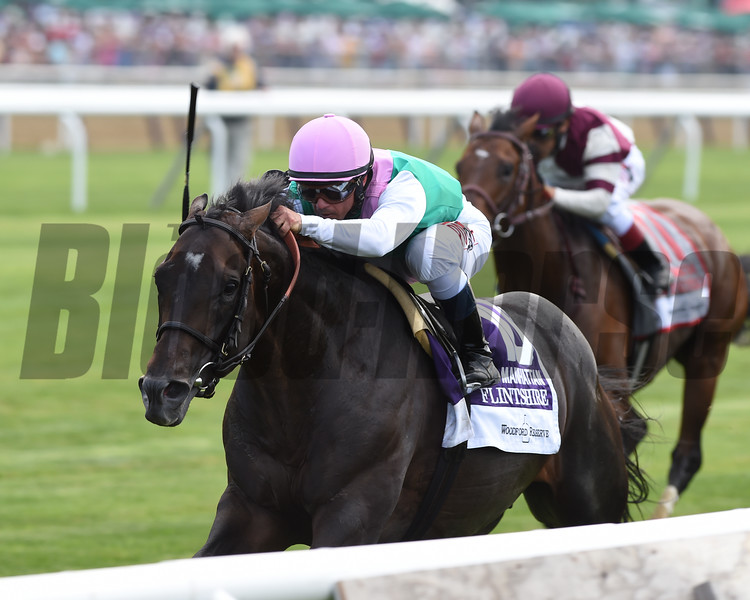 Flintshire with Javier Castellano wins the Woodford Reserve Manhattan (gr. I).<br /> Coglianese Photos/Adam Mooshian