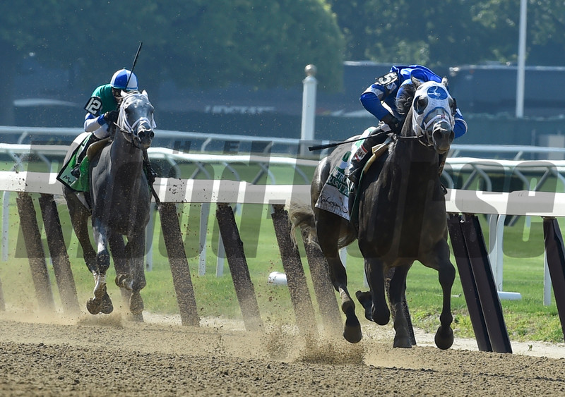 Frosted with jockey Joel Rosario wins the 123rd running of the Mohegan Sun Metropolitan at Belmont Park June 11, 2016 in Elmont, N.Y.  Photo by Skip Dickstein