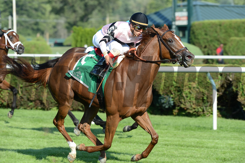 Ancient Secret wins the 2016 Lake George Stakes.<br /> Coglianese Photos/Lauren KIng