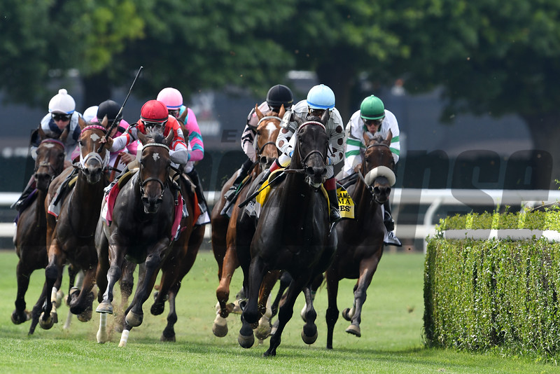Celestine wins the 2016 Just a Game Stakes.<br /> Coglianese Photos