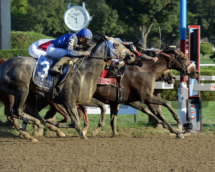 Shaman Ghost wins the 2016 Woodward Stakes.<br /> Coglianese Photos/Susie Raisher