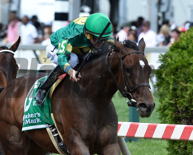 Ahh Chocolate with jockey Brian Hernandez wins the 23rd eunning of the Grade III Allaire Dupont Distaff Stakes at Pimlico Race Course May 20, 2016.  Photo by Skip Dickstein