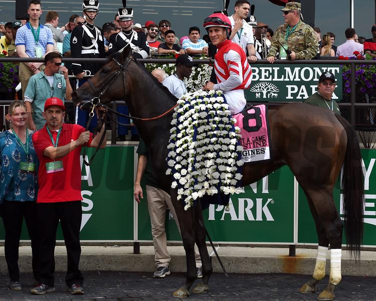 Celestine with Junior Alvarado wins the Just a Game (gr. I).     <br /> Dave Harmon Photo