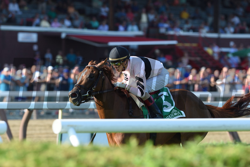 Ancient Secret wins the 2016 Lake George Stakes.<br /> Coglianese Photos/Chelsea Durand