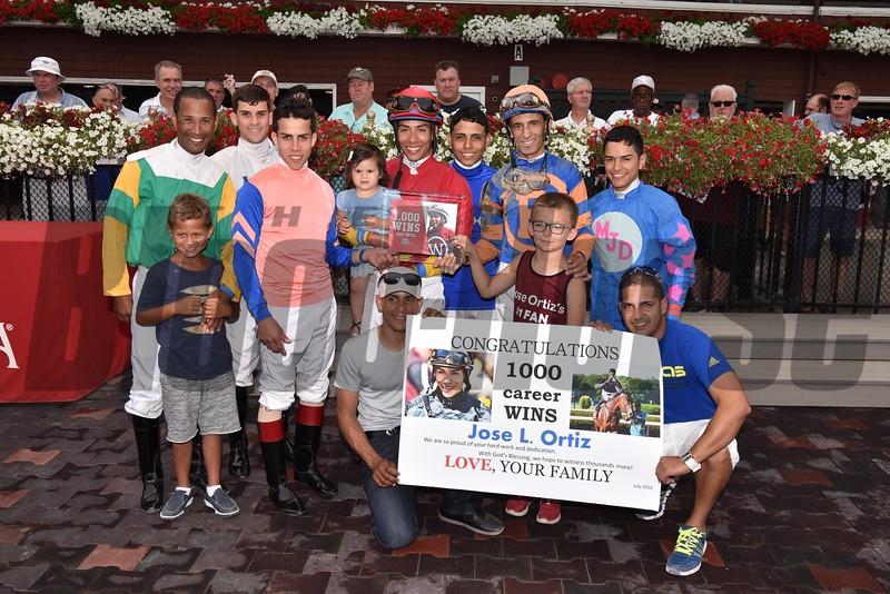 Jose Ortiz 1000th win, July 28, 2016.<br /> Coglianese Photos