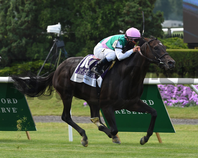 Flintshire with Javier Castellano wins the Woodford Reserve Manhattan (gr. I).<br /> Coglianese Photos