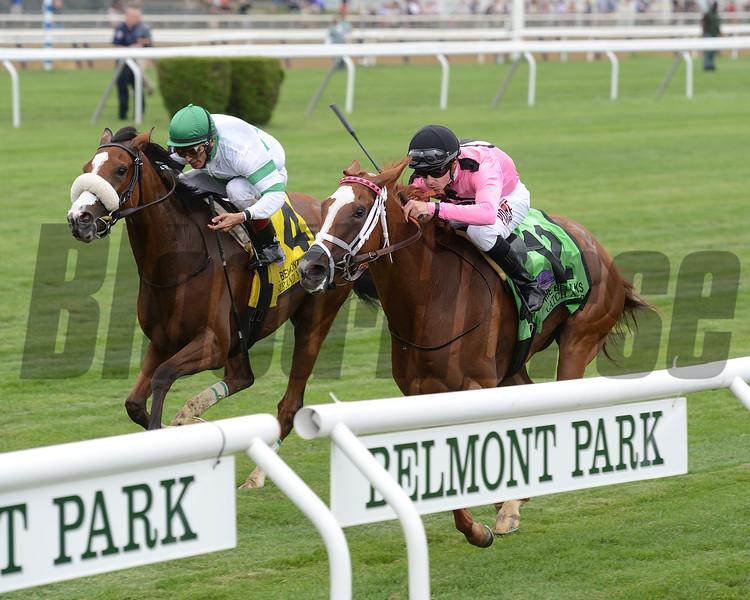 Catch a Glimpse wins the 2016 Belmont Oaks Invitational.     <br /> Coglianese Photos/Chelsea Durand
