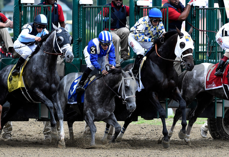 Mohaymen goes to his knees at the start of the race as Laoban goes on to the win and broke his maiden in the 53rd running of the Jim Dandy at Saratoga 7/30/16.  Photo by Skip Dickstein
