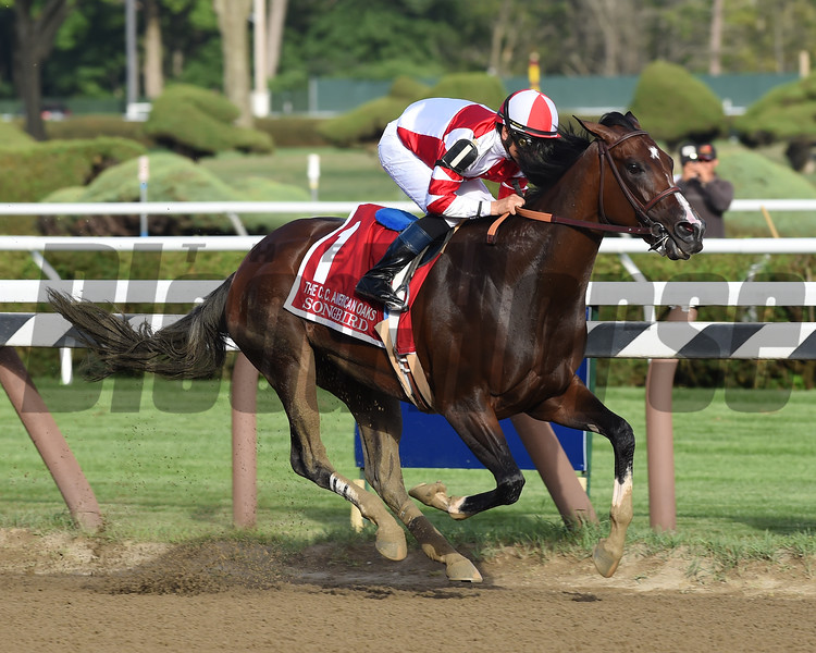 Songbird wins the 2016 Coaching Club American Oaks.<br /> Coglianese Photos