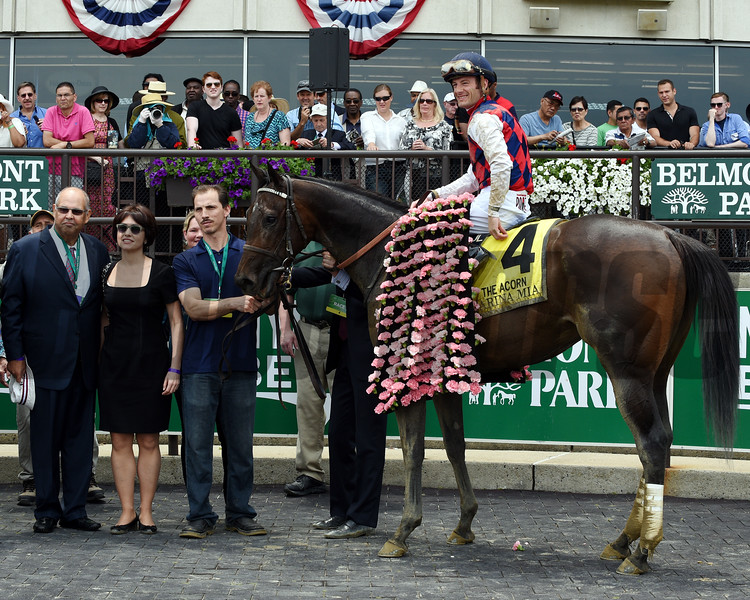 Carina Mia with Julien Leparoux wins the Acorn Stakes (gr. I).<br /> Dave Harmon Photo