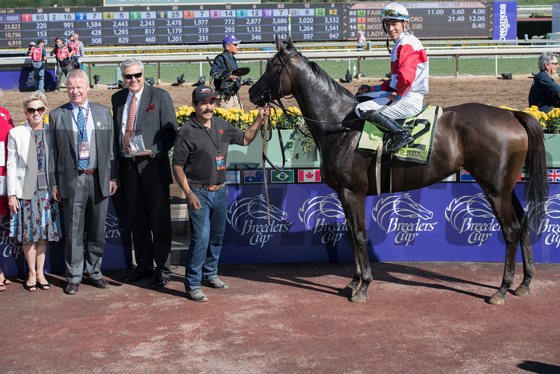 Connections of Fair Point celebrate in the winners' circle after winning the Senator Ken Maddy stakes (gr. III) at Santa Anita on Nov. 5, 2016, in Arcadia, California.