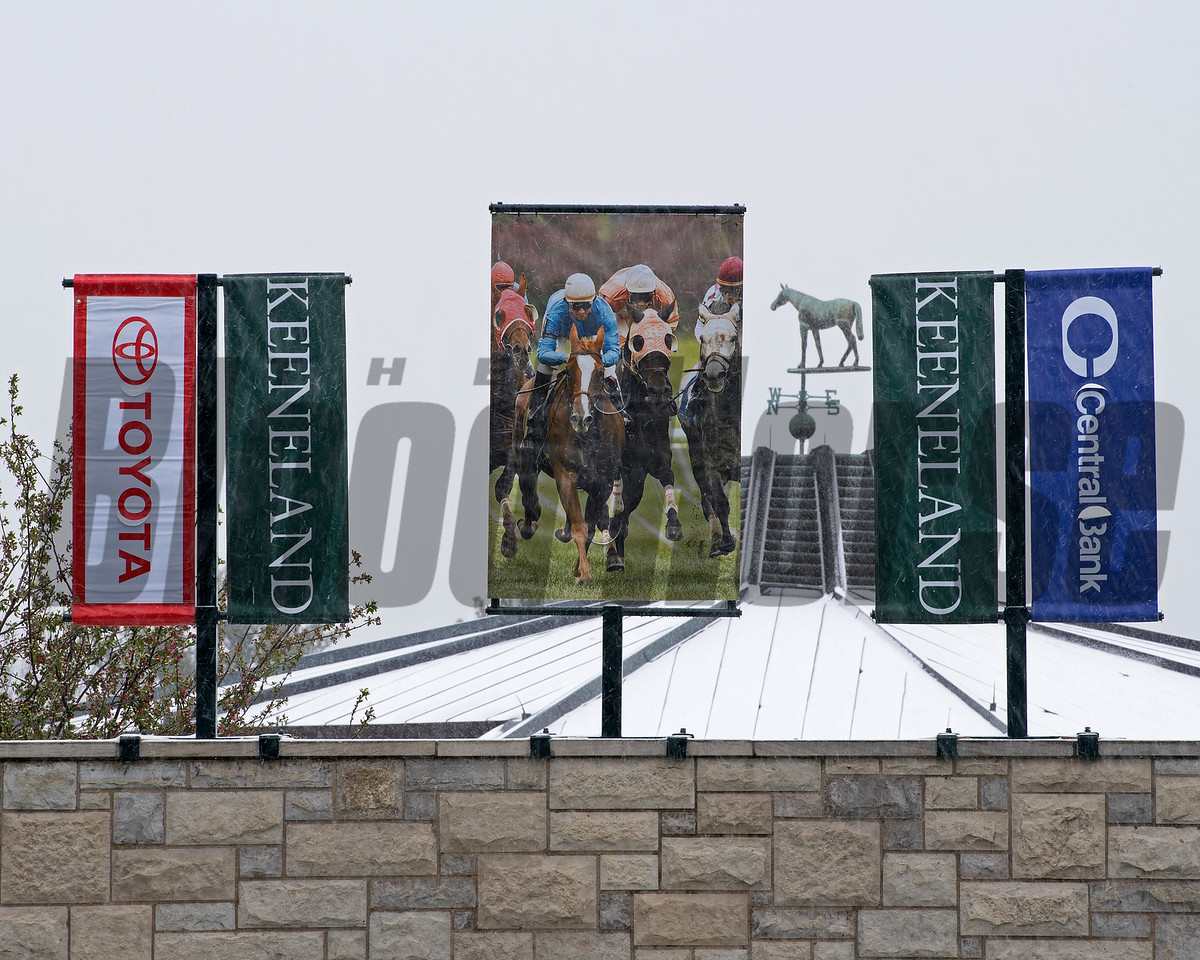 Snow scenes at Keeneland on April 7, 2018, in Lexington, Ky.