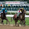 #5 Big Dollar Bill with jockey Chris Landeros moves away from the field in the 8th running of The Birdstone stake at the Saratoga Race Course Thursday Aug. 2, 2018.  Photo by Skip Dickstein