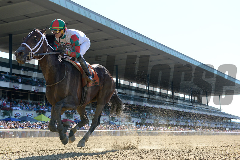 Firenze Fire wins the Dwyer Stakes Saturday, July 7, 2018. Photo: Coglianese Photos
