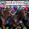 #4 Monomoy Girl wins the 102nd running of the Coaching Club American Oaks at the Saratoga Race Course Sunday July 22, 2018 in Saratoga Springs, N.Y.  Photo by Skip Dickstein