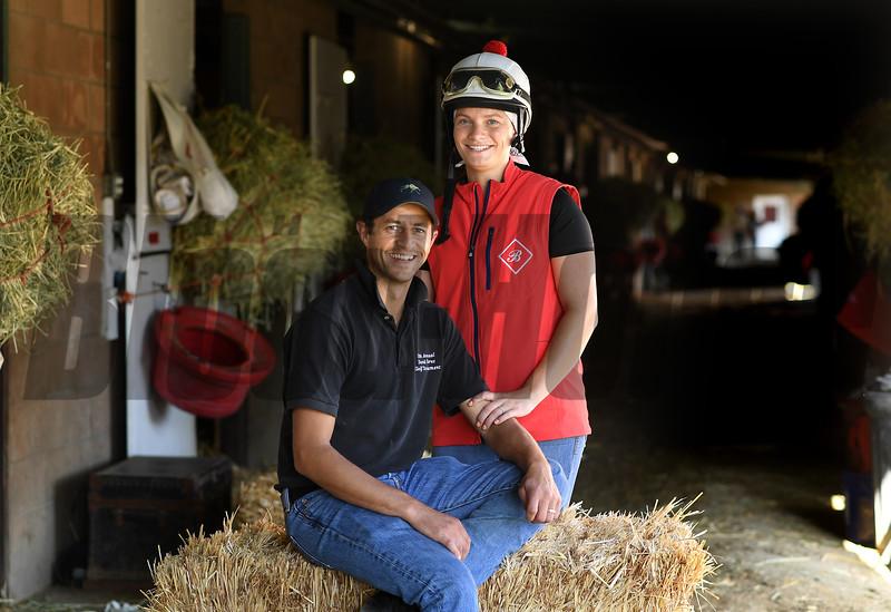 Barn foreman and exercise rider David Meah with his wife Anna at the barn of Richard Baltas at Santa Anita. Photo: Wally Skalij