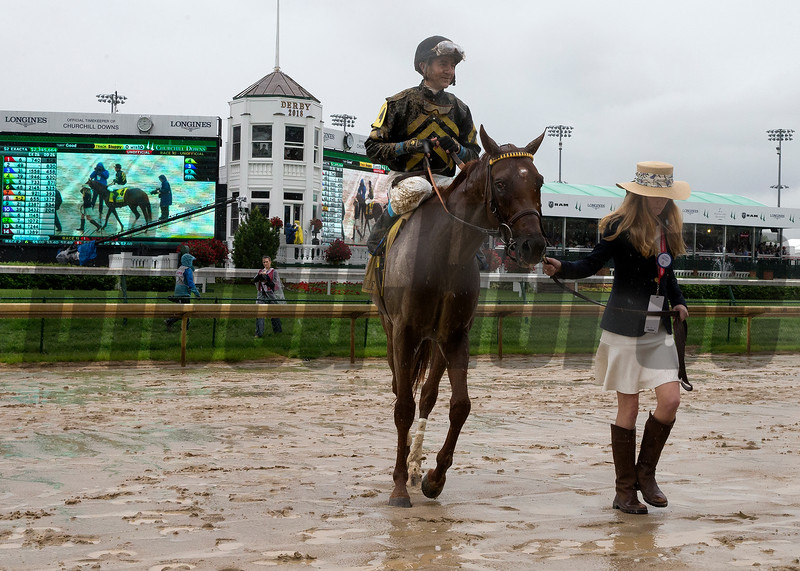 Funny Duck and Brian J. Hernandez, Jr. winning the Pat Day Mile at Churchill Downs on May 5, 2018.