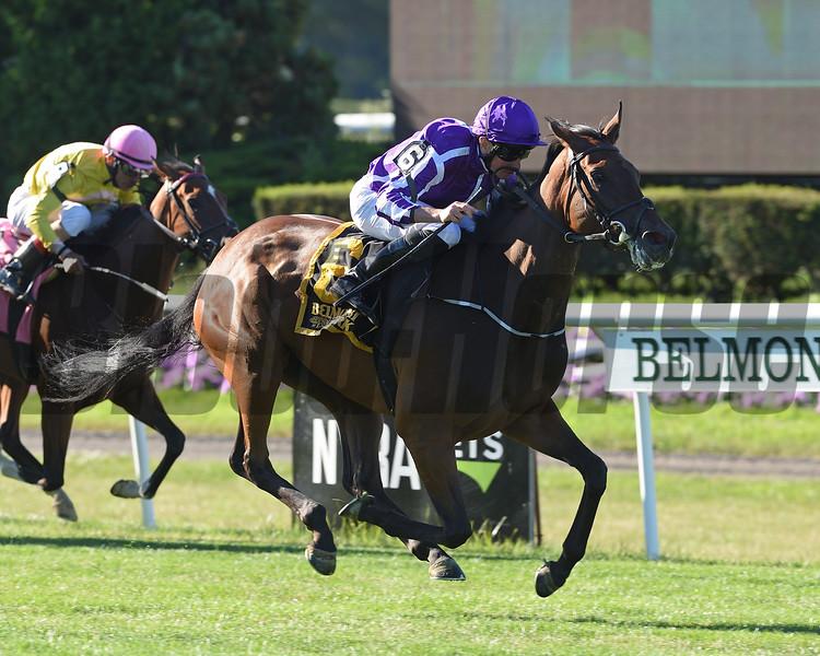 Athena wins the Belmont Oaks Invitational Stakes at Belmont Park Saturday, July 7, 2018. Photo: Coglianese Photos
