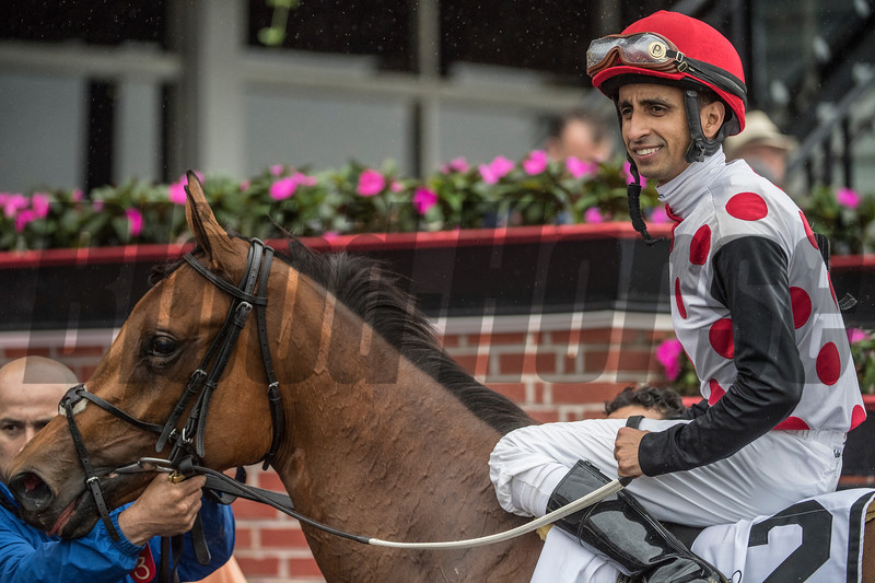Souper Striking with jockey Julian Pimentel up wins the 46th running of The Hilltop Stakes at Pimlico Race Course Friday May 18, 2018 in Baltimore, MD.  Photo by Skip Dickstein