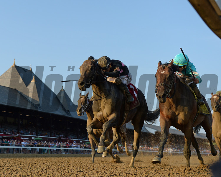 Realm wins the Alydar Stakes at Saratoga Sunday, August 5, 2018. Photo: Coglianese Photo/Chelsea Durand