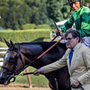 Sistercharlie with jockey John Velazquez heads to the winner's circle with owner Peter Brandt after winning the 80th running of The Diana at the Saratoga Race Course Saturday July 21, 2018 in Saratoga Springs, N.Y.   Photo by Skip Dickstein