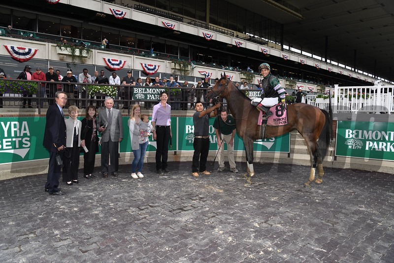 Diversify wins the 2018 Commentator Stakes at Belmont Park. Photo: Coglianese Photo