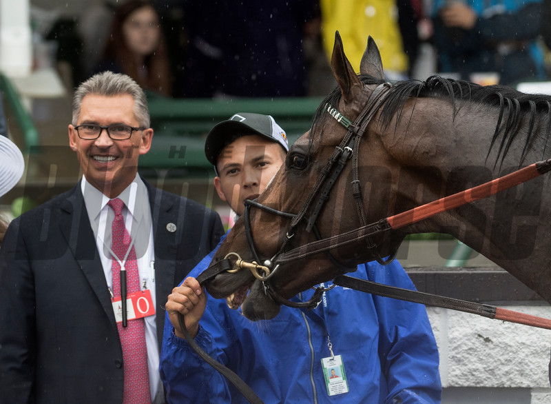 Winstar's Kenny Troutt joins everyone in the winner's circle after Yoshida won the 32nd running of The Old Forester Turf Classic at Churchill Downs May 5, 2018 in Louisville, Kentucky.  Photo by Skip Dickstein