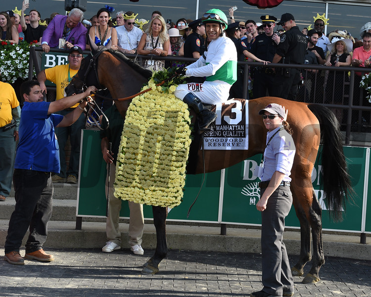 Spring Quality with Edgar Prado win the 117th Running of the Manhattan (GI) at Belmont Park on June 9, 2018.<br /> Dave W. Harmon
