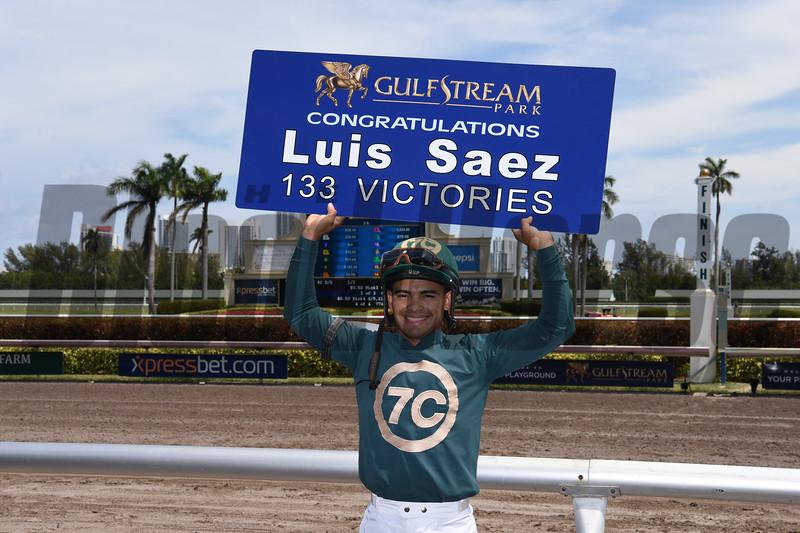 Luis Saez 133 victories at Gulfstream Park, Meet Record, March 31, 2018<br /> Coglianese Photos
