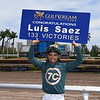 Luis Saez 133 victories at Gulfstream Park, Meet Record, March 31, 2018<br /> Coglianese Photos