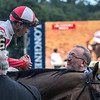 Seth Klaravich congratulates jockey Jose Ortiz after winning the 93rd running of The Longines Test Stakes Saturday Aug. 4, 2018 in Saratoga Springs, N.Y.(Skip Dickstein