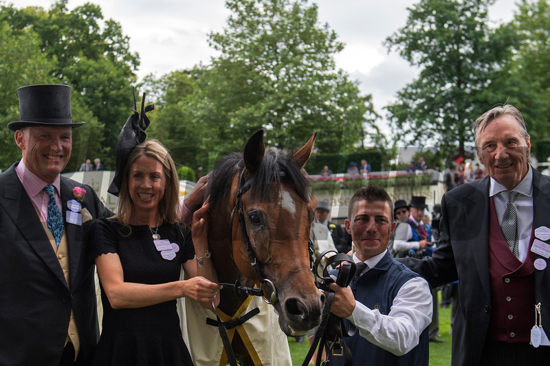 Without Parole, Frankie Dettori win the G1 St James's Palace Stakes, Trained by John Gosden, owned by John and Tayna Gunther, Royal Ascot, Ascot Race Course, Ascot, UK, 6-19-18, Photo by Mathea Kelley