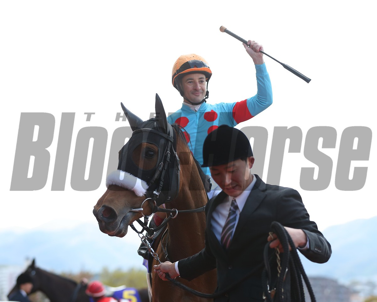 Almond Eye with Christophe Lemaire wins the Oka-sho (G1) at Hanshin Racecourse on April 8, 2018