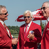 Hall of Fame trainer Bob Baffert shares a laugh with fellow honorees, trainers Bill Mott, left and  D. Wayne Lukas, right upon being inducted in to the Saratoga Race Course Walk of Fame at the Saratoga Race Course Friday  Aug. 24, 2018  in Saratoga Springs, N.Y. Photo by Skip Dickstein