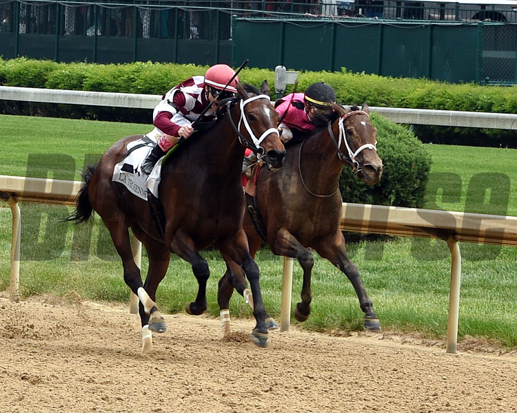 Salty with Tyler Gaffalione wins the La Troienne (G1) on May 4, 2018 Churchill Downs in Louisville, Ky.<br /> Dave Harmon Photo