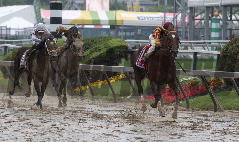 Irish War Cry with jockey Jose Ortiz Jr. in the saddle goes wire to wire to win the 48th running of The Pimlico Special at Pimlico Race Course May 18, 2018 in Baltimore, MD.  Photo by Skip Dickstein