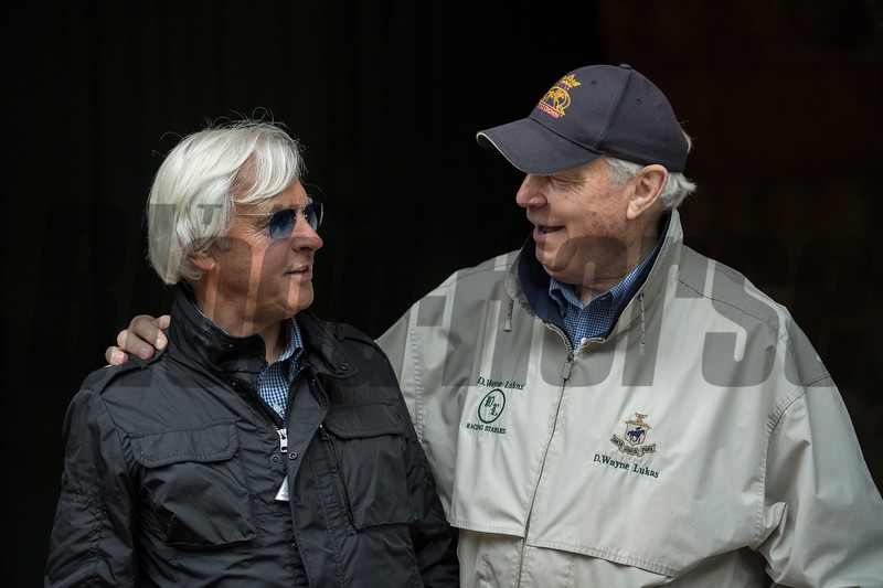 Trainers Bob Baffert and D. Wayne Lukas ham it up in the barn area of the Pimlico Race Course Friday May 18, 2018 in Baltimore, MD.  Photo by Skip Dickstein
