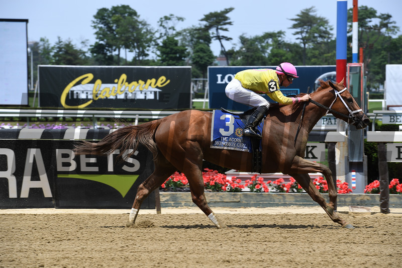 Monomoy Girl wins 2018 Acorn Stakes at Belmont Park June 9, 2018. Photos: Coglianese Photos