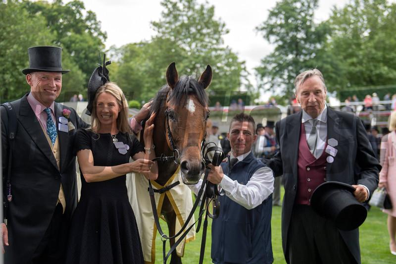 Without Parole, Frankie Dettori, win the G1 St James's Palace Stakes, Royal Ascot, Ascot UK, 6/19/18. Photo: Mathea Kelley