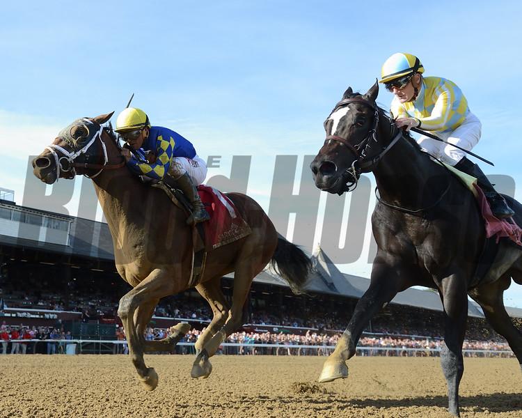 Sombeyay wins the Sanford Stakes at Saratoga Saturday, July 21, 2018. Photo: Coglianese Photos