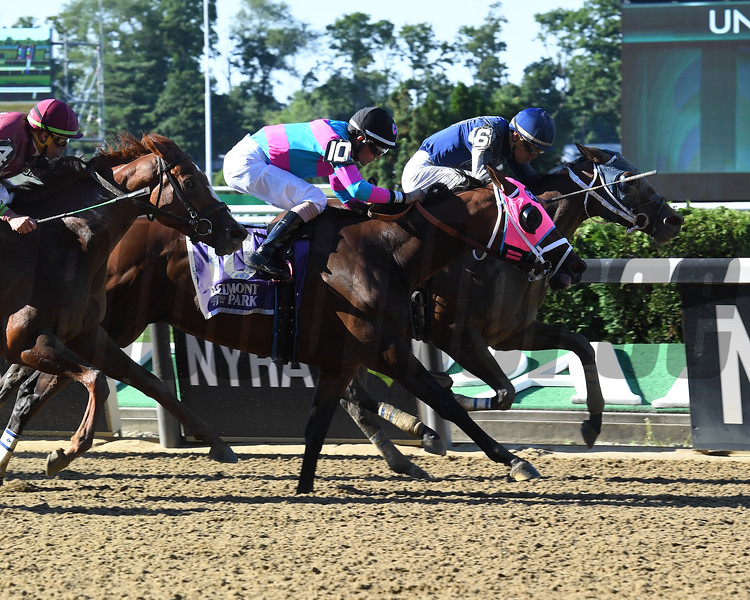 Dixie Serenade wins the Victory Ride Stakes at Belmont Park Sunday, July 8, 2018. Photo: Coglianese Photos