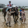 Mitole with jockey Ricardo Santana wins the 9th running of The Chick Lang at the Pimlico Race Course on Preakness Day Saturday May 19, 2018 in Baltimore, MD<br /> Skip Dickstein Photo