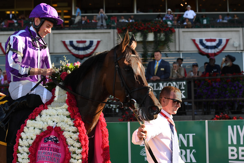 Athena wins the Belmont Oaks Invitational Stakes at Belmont Park Saturday, July 7, 2018. Photo: Coglianese Photos/Susie Raisher