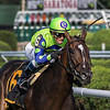 Rushing Fall with jockey Javier Castellano in the saddle wins the 8th running of the Grade II Lake Placid at the Saratoga Race Course Aug. 18, 2018 in Saratoga Springs, N.Y.  Photo by Skip Dickstein